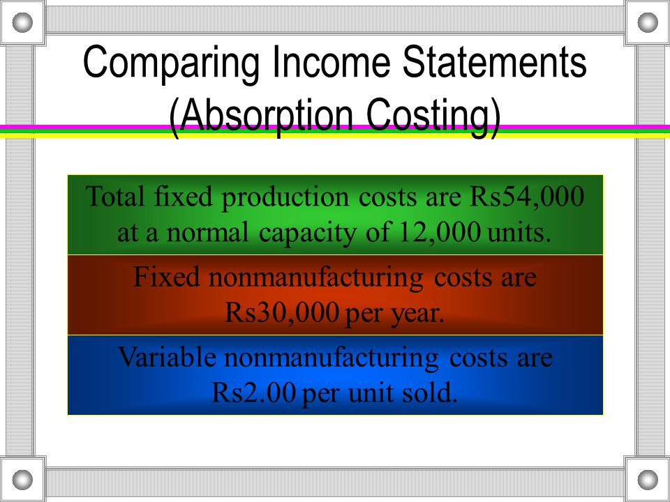 Comparing Income Statements The following information is on a per unit basis: Sales price:Rs71.00 Variable manufacturing costs: Direct materials:Rs 4.00 Direct manufacturing labor:Rs21.00 Indirect manufacturing costs:Rs24.00 Fixed manufacturing costs:Rs 4.50