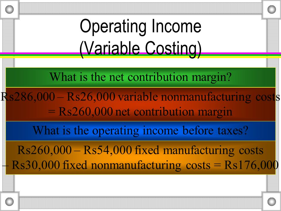 Operating Income (Variable Costing) Revenues for Year 2 are Rs923,000.