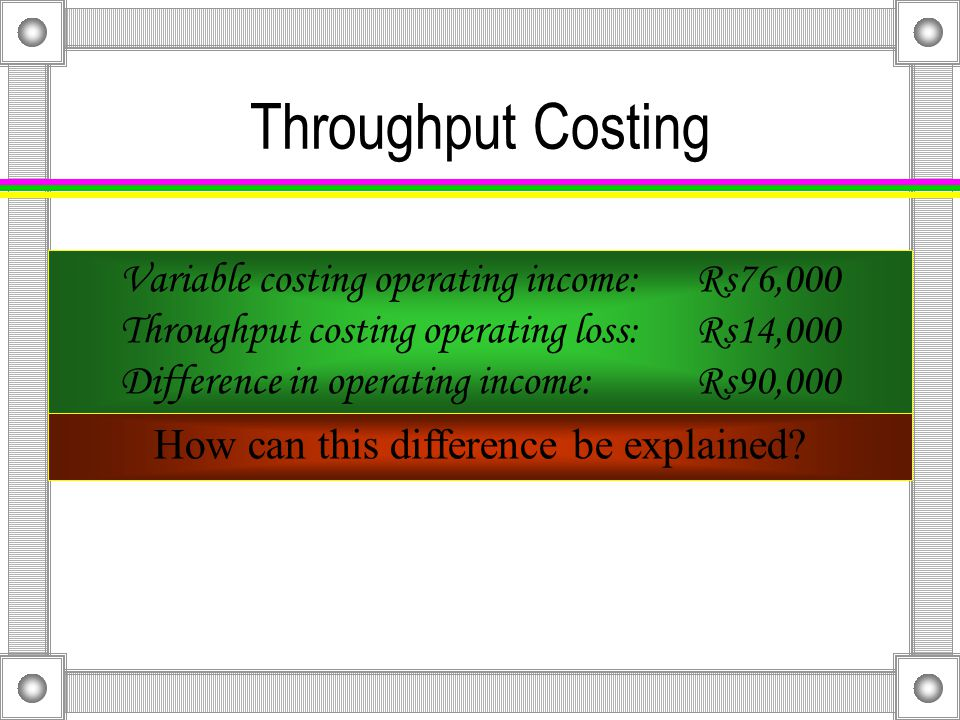 Throughput Costing Nonmanufacturing Costs: Variable Rs2.00 × 8,000Rs16,000 Fixed 30,000 TotalRs46,000