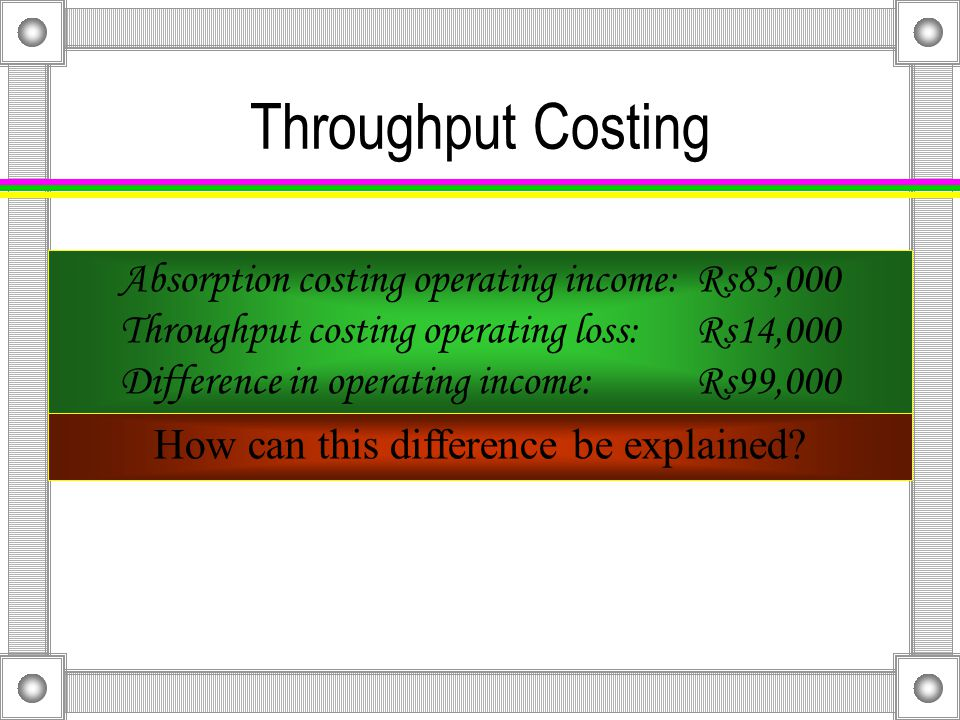 Throughput Costing The 2,000 units in ending inventory are valued as follows: Variable 2,000 × Rs49 = Rs98,000 Throughput 2,000 × Rs4 = Rs8,000 Rs90,000 difference
