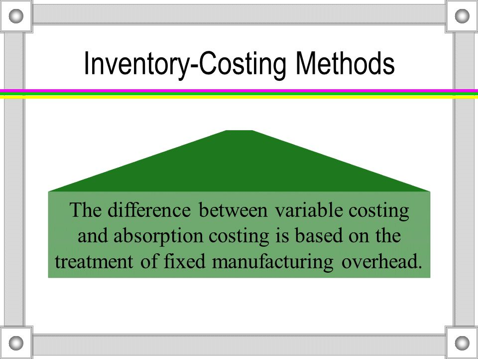 Comparison of Variable and Absorption Costing Production exceeds sales in Year 1.