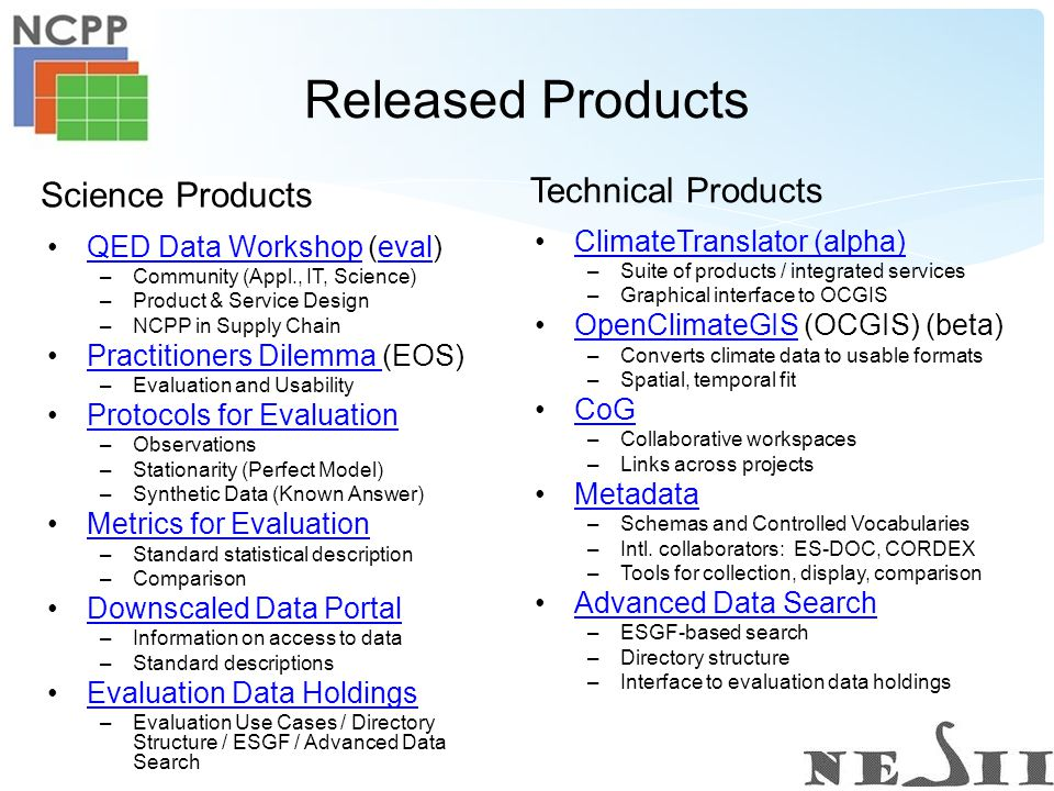 Released Products ClimateTranslator (alpha) –Suite of products / integrated services –Graphical interface to OCGIS OpenClimateGIS (OCGIS) (beta)OpenClimateGIS –Converts climate data to usable formats –Spatial, temporal fit CoG –Collaborative workspaces –Links across projects Metadata –Schemas and Controlled Vocabularies –Intl.