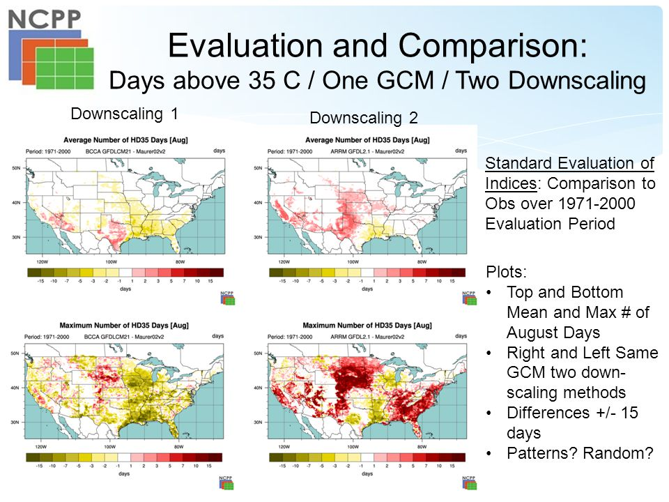 Evaluation and Comparison: Days above 35 C / One GCM / Two Downscaling Downscaling 2 Downscaling 1 Plots: Top and Bottom Mean and Max # of August Days Right and Left Same GCM two down- scaling methods Differences +/- 15 days Patterns.