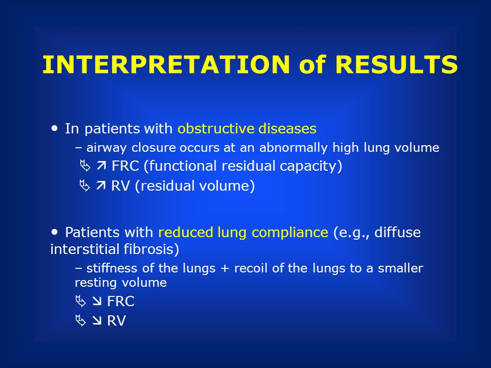 INTERPRETATION of RESULTS In patients with obstructive diseases – airway closure occurs at an abnormally high lung volume FRC (functional residual cap