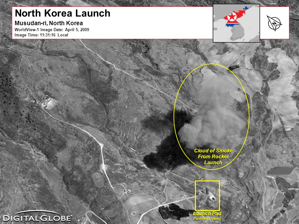 6/12/2014DigitalGlobe Proprietary17 North Korea Launch Musudan-ri, North Korea WorldView-1 Image Date: April 5, 2009 Image Time: 11:31:16 Local N Cloud of Smoke From Rocket Launch Launch Pad (See next slide) Launch Pad (See next slide)