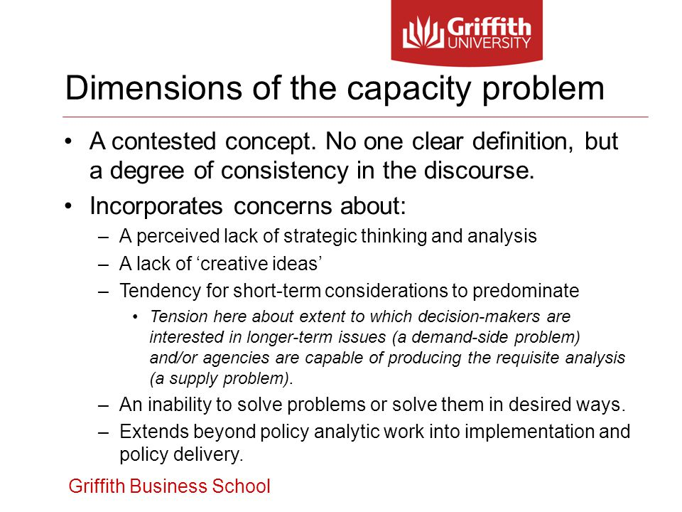 Griffith Business School A contested concept. No one clear definition, but a degree of consistency in the discourse. Incorporates concerns about: –A p