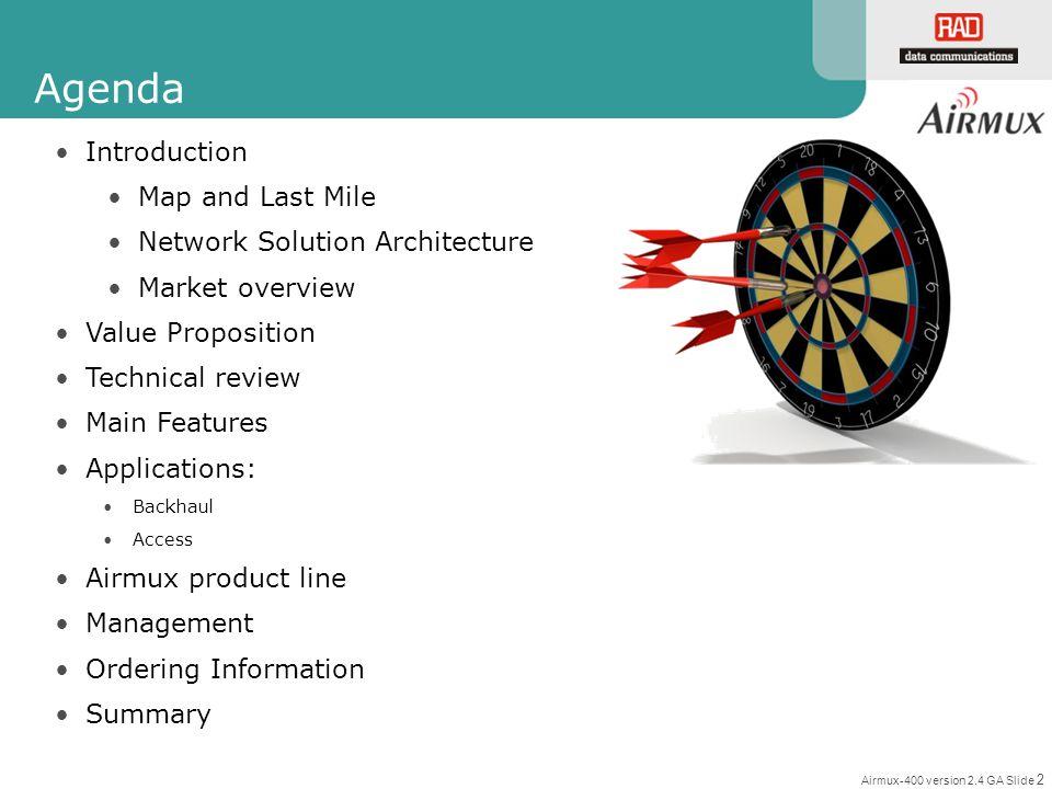 Airmux-400 version 2.4 GA Slide 2 Agenda Introduction Map and Last Mile Network Solution Architecture Market overview Value Proposition Technical revi