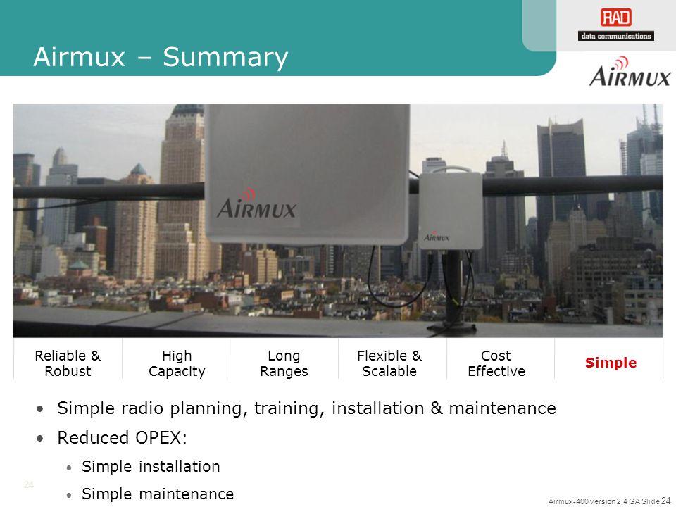 Airmux-400 version 2.4 GA Slide 24 24 Simple radio planning, training, installation & maintenance Reduced OPEX: Simple installation Simple maintenance