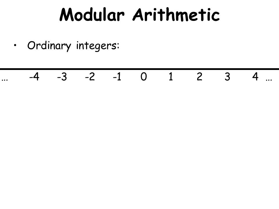 Modular Arithmetic Ordinary integers: … -4-3-2-101234 …