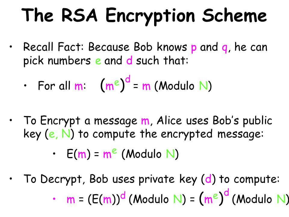 The RSA Encryption Scheme Recall Fact: Because Bob knows p and q, he can pick numbers e and d such that: For all m: ( m e ) d = m (Modulo N) To Encrypt a message m, Alice uses Bobs public key (e, N) to compute the encrypted message: E(m) = m e (Modulo N) To Decrypt, Bob uses private key (d) to compute: m = (E(m)) d (Modulo N) = ( m e ) d (Modulo N)