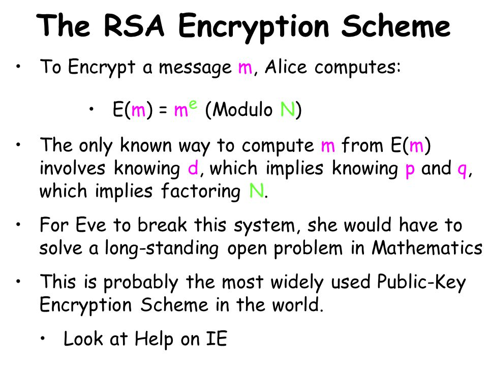The RSA Encryption Scheme To Encrypt a message m, Alice computes: E(m) = m e (Modulo N) The only known way to compute m from E(m) involves knowing d,