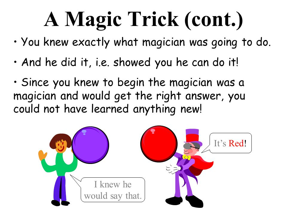 A Magic Trick (cont.) You knew exactly what magician was going to do. And he did it, i.e. showed you he can do it! Since you knew to begin the magicia