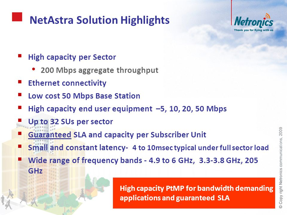 NetAstra – Value Proposition High capacity connectivity to BW demanding & high-end applications in urban to rural deployments: Service Providers Access business users with demand for high capacity and SLA Rural and remote broadband connectivity Backhaul of access solutions –e.g.