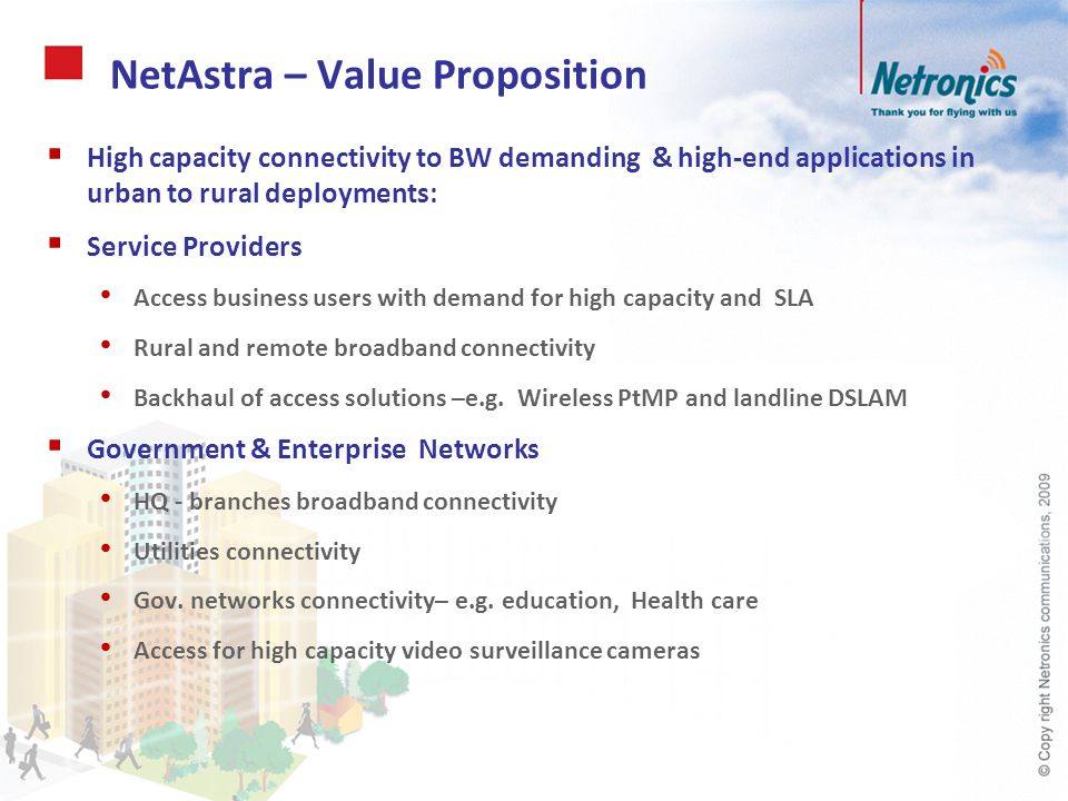 NetAstra – Value Proposition High capacity connectivity to BW demanding & high-end applications in urban to rural deployments: Service Providers Acces