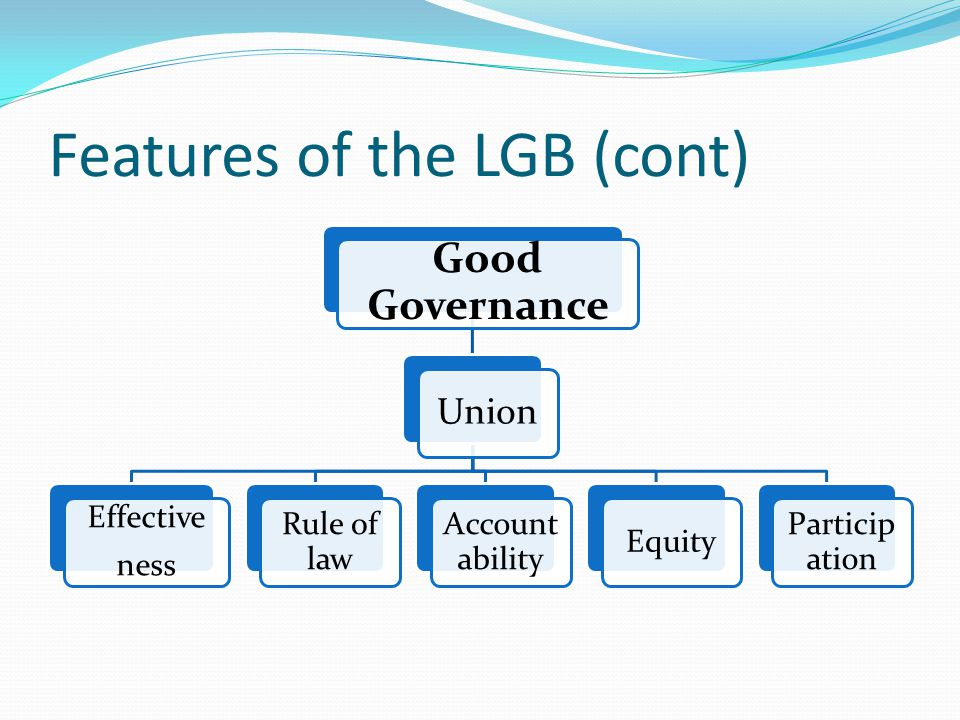 Features of the LGB (cont) Good Governance Union Effective ness Rule of law Accoun tability Equity Particip ation