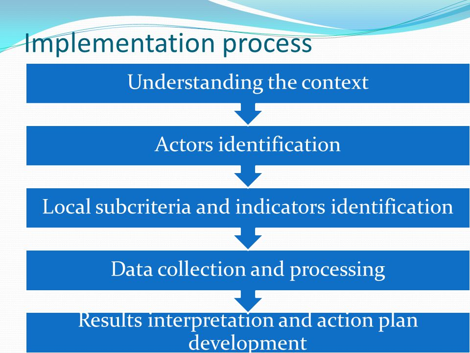 Implementation process Results interpretation and action plan development Data collection and processing Local subcriteria and indicators identificati