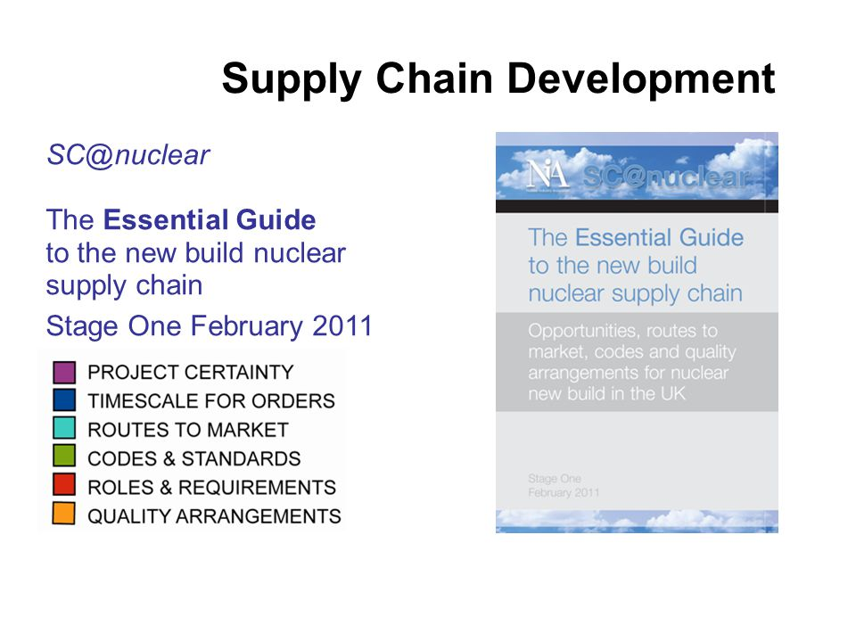SC@nuclear The Essential Guide to the new build nuclear supply chain Stage One February 2011 Supply Chain Development