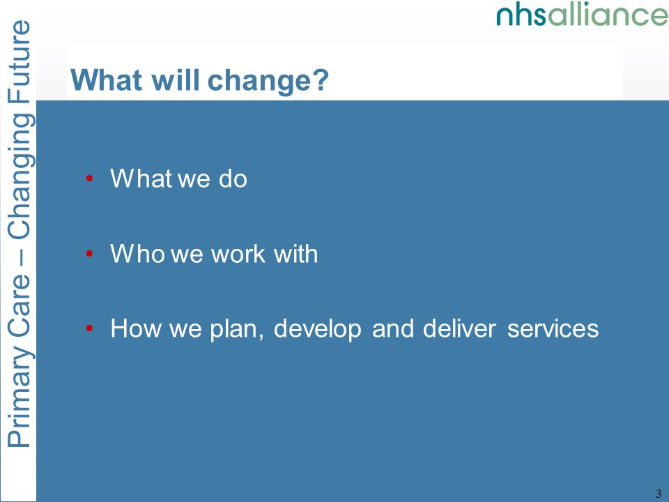 Primary Care – Changing Future 3 What will change.