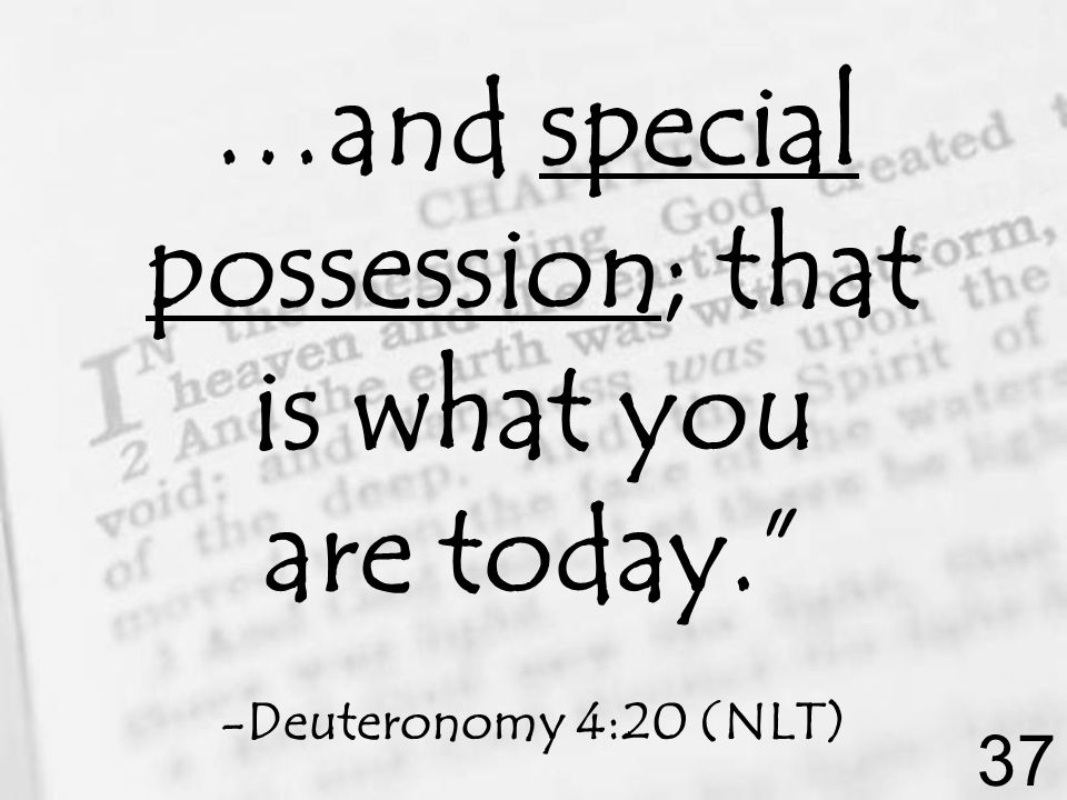 …and special possession; that is what you are today. -Deuteronomy 4:20 (NLT) 37
