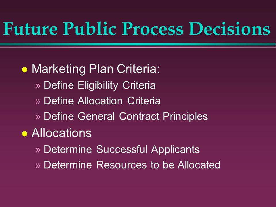 l Marketing Plan Criteria: »Define Eligibility Criteria »Define Allocation Criteria »Define General Contract Principles l Allocations »Determine Succe