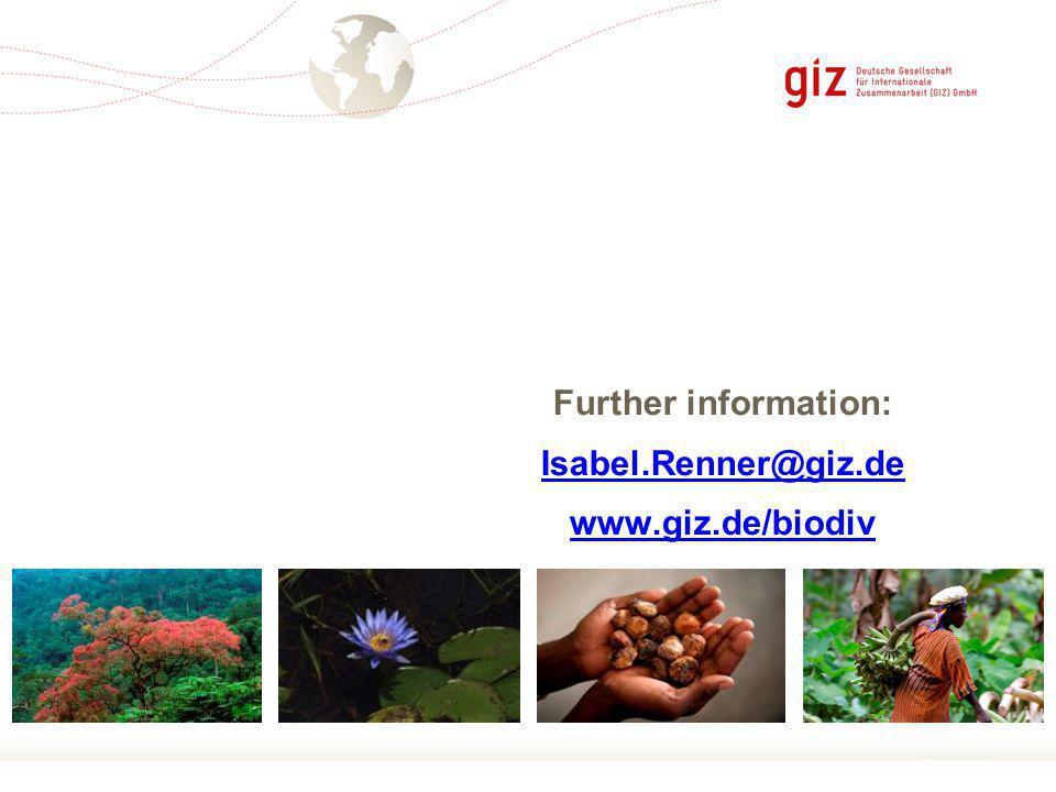 Page 11 Further information: Isabel.Renner@giz.de www.giz.de/biodiv
