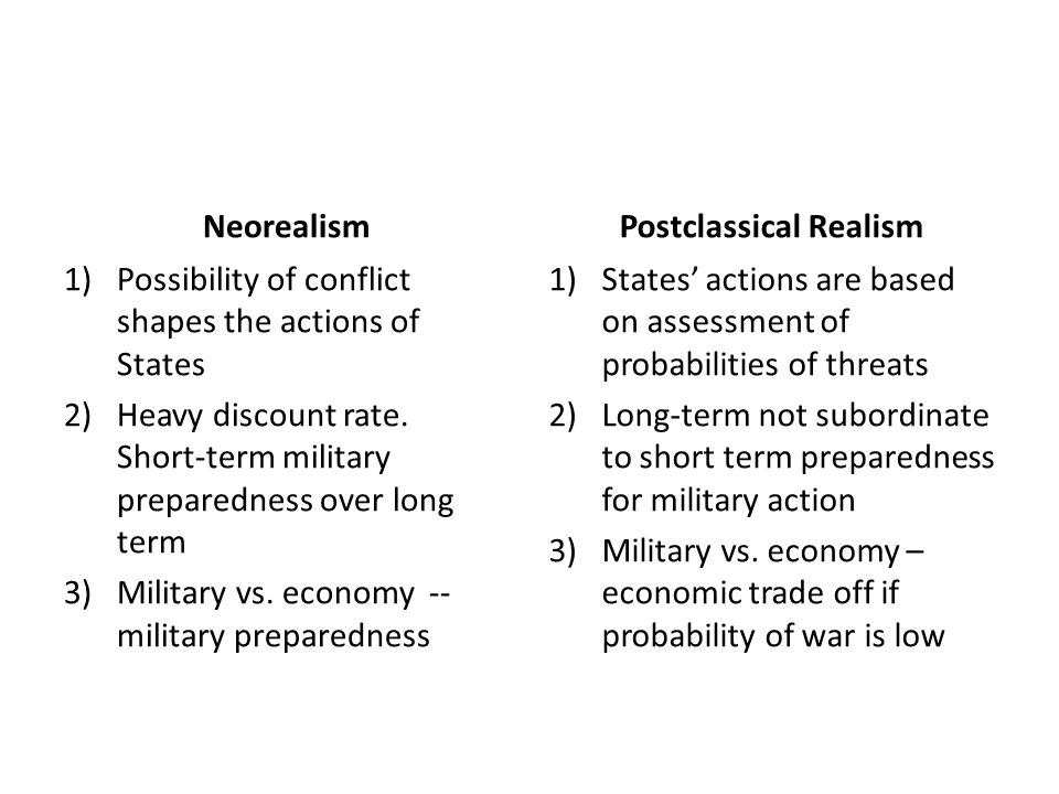 Neorealism 1)Possibility of conflict shapes the actions of States 2)Heavy discount rate. Short-term military preparedness over long term 3)Military vs