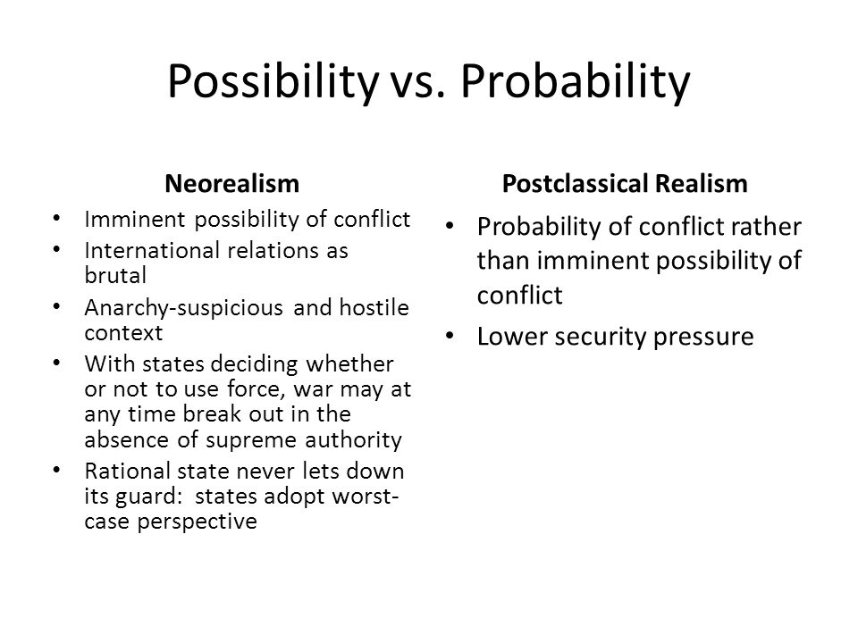 Possibility vs. Probability Neorealism Imminent possibility of conflict International relations as brutal Anarchy-suspicious and hostile context With