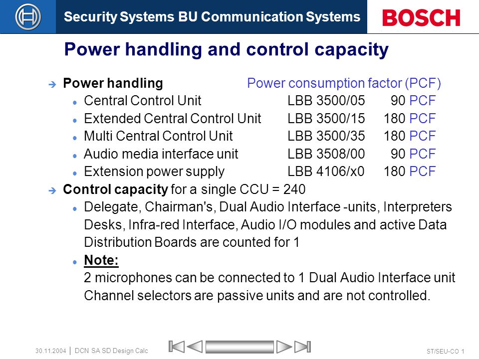 Security Systems BU Communication Systems ST/SEU-CO 12 DCN SA SD Design Calc 30.11.2004 Trunk Outlet & Tap-Off Outlets LBB 4106/X0 Extension Power Supply Unit LBB 4114/00 Trunk-cable splitter LBB 4115/00 Tap-off unit Trunk-out