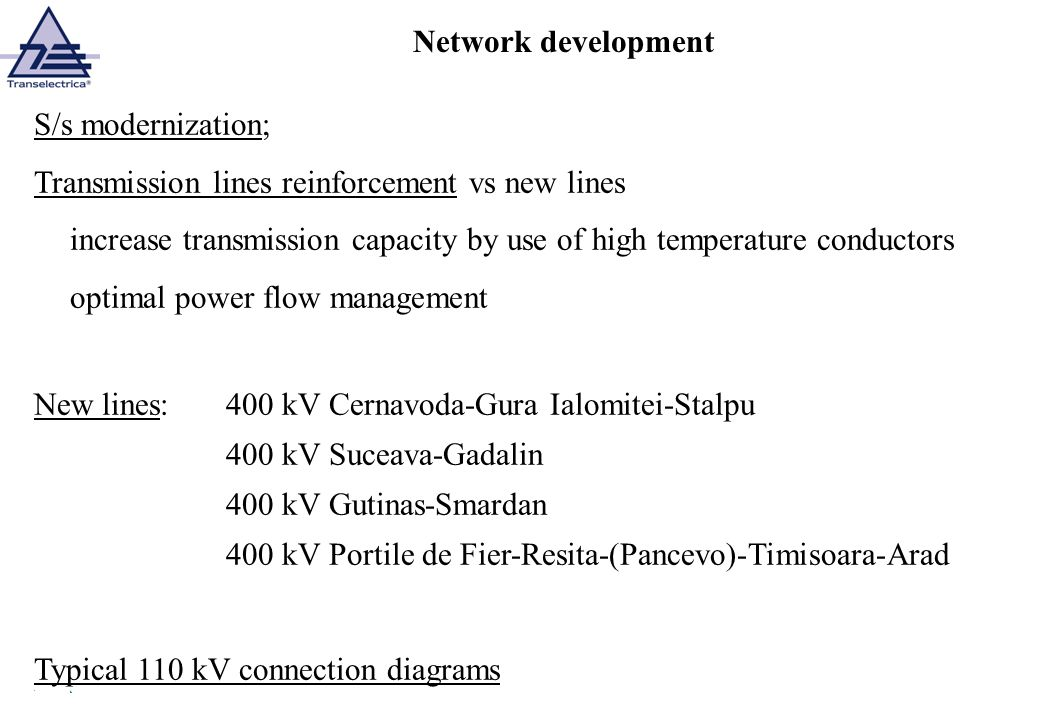 Network development S/s modernization; Transmission lines reinforcement vs new lines increase transmission capacity by use of high temperature conduct