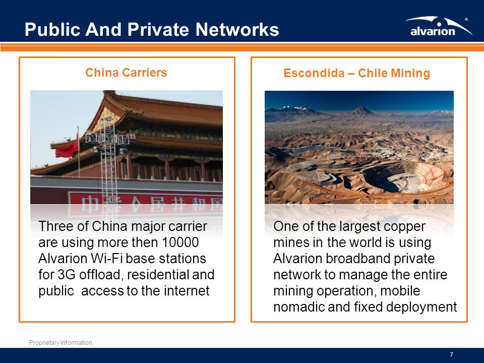 Proprietary Information. 7 Public And Private Networks China Carriers Three of China major carrier are using more then 10000 Alvarion Wi-Fi base stati