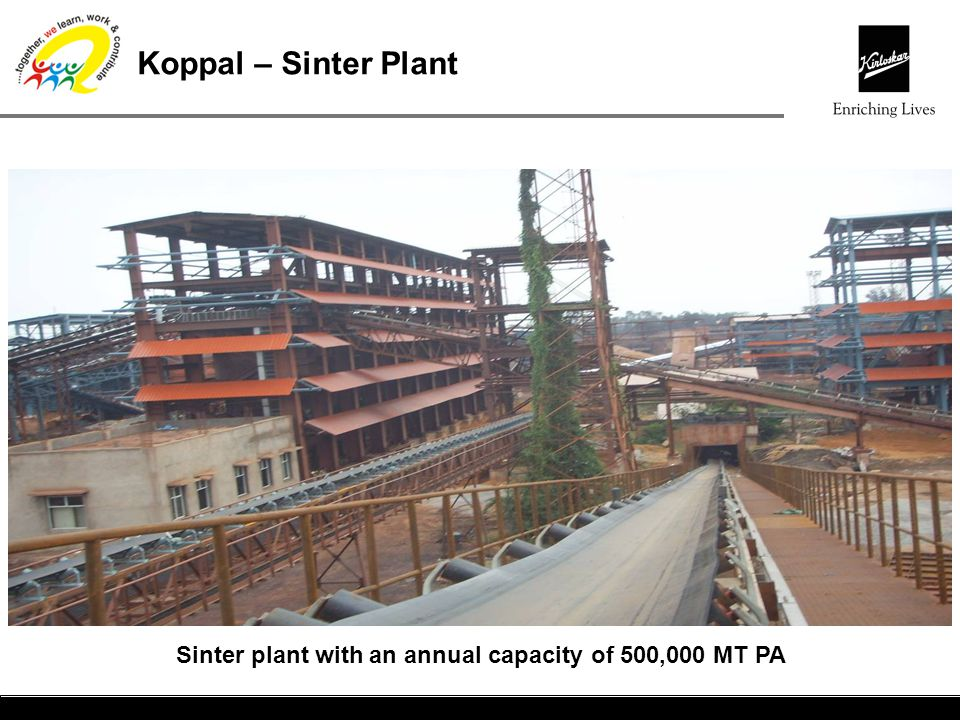 Koppal – Sinter Plant Sinter plant with an annual capacity of 500,000 MT PA