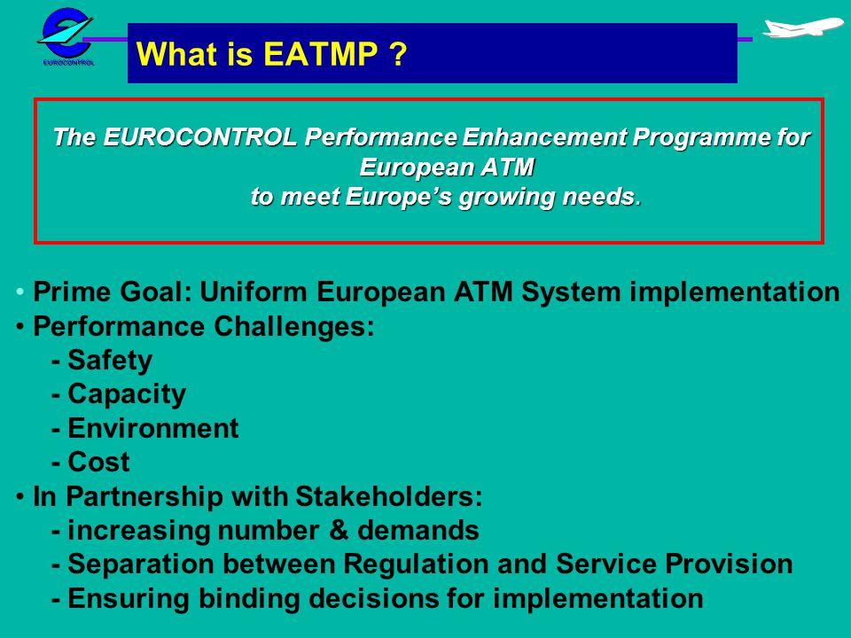 What is EATMP ? The EUROCONTROL Performance Enhancement Programme for European ATM to meet Europes growing needs. Prime Goal: Uniform European ATM Sys
