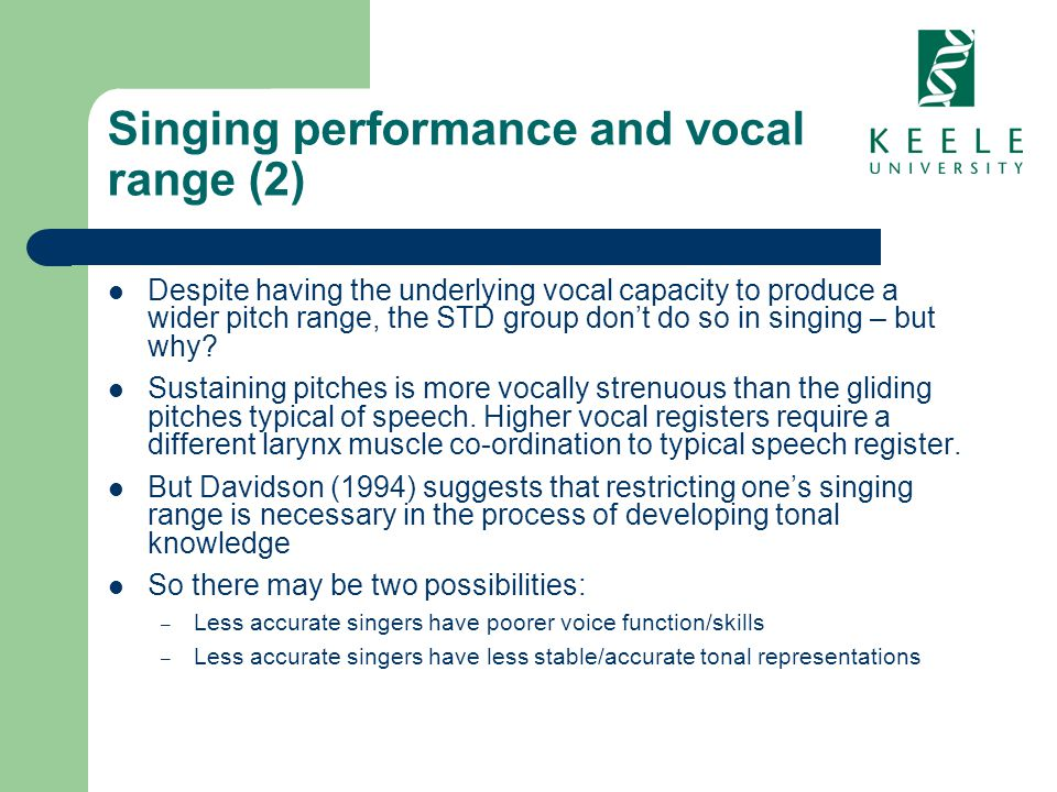Singing performance and vocal range (2) Despite having the underlying vocal capacity to produce a wider pitch range, the STD group dont do so in singi