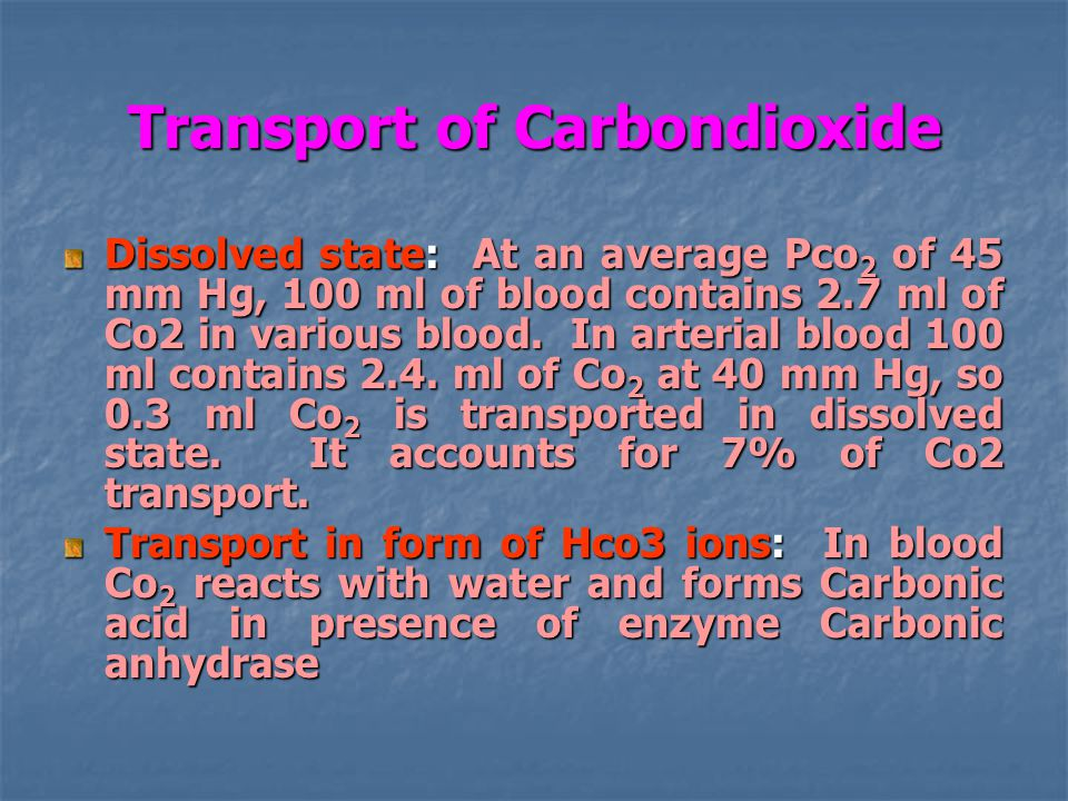 Transport of Carbondioxide Dissolved state: At an average Pco 2 of 45 mm Hg, 100 ml of blood contains 2.7 ml of Co2 in various blood.