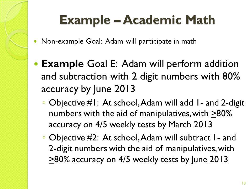 Example - Behaviour Non-example Goal: Adam will decrease problem behaviour Example Goal D: Adam will maintain socially acceptable behaviour during tra