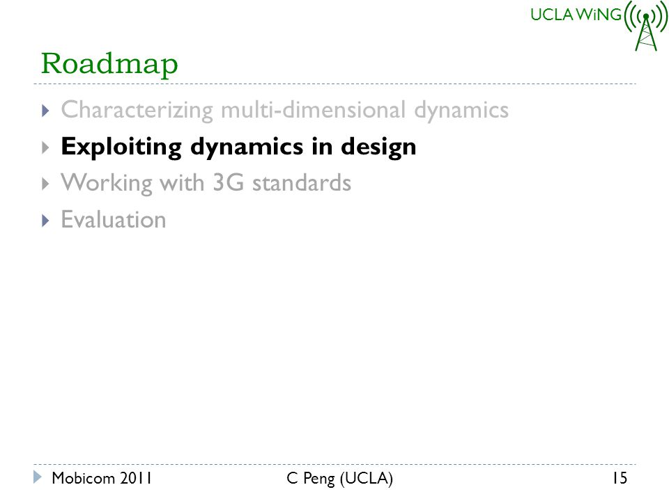 UCLA WiNG Roadmap Characterizing multi-dimensional dynamics Exploiting dynamics in design Working with 3G standards Evaluation Mobicom 201115C Peng (UCLA)