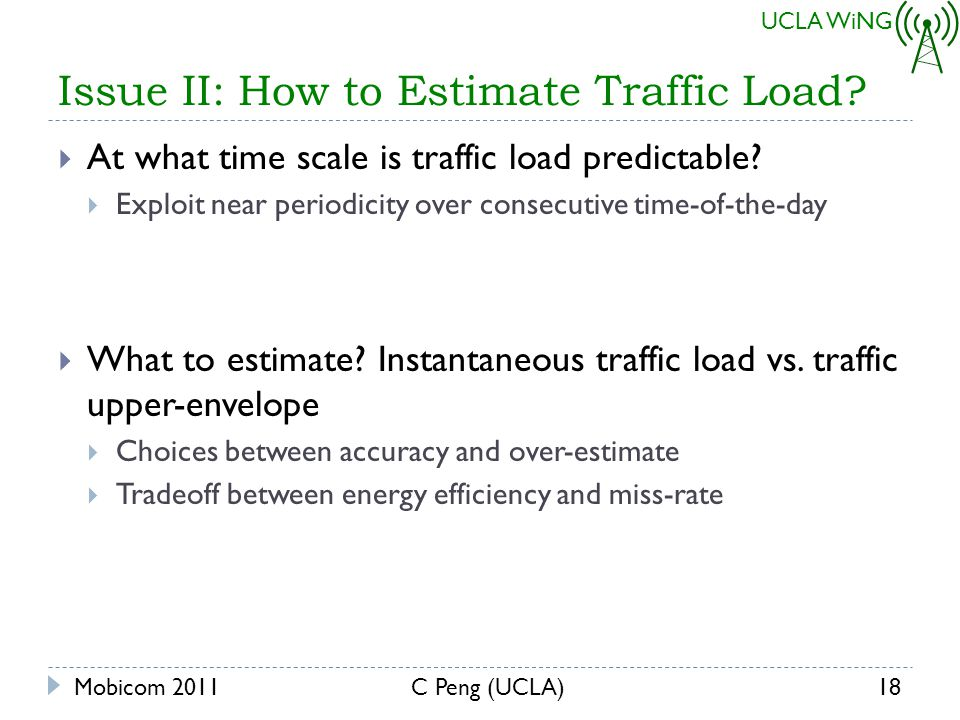 UCLA WiNG Issue II: How to Estimate Traffic Load. At what time scale is traffic load predictable.