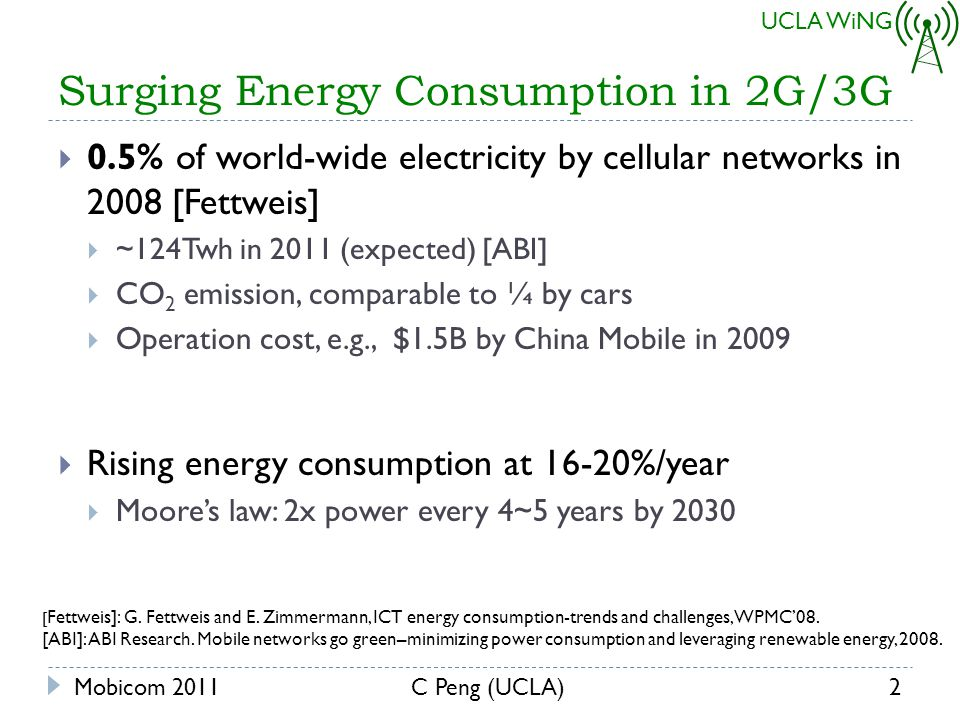 UCLA WiNG Surging Energy Consumption in 2G/3G 0.5% of world-wide electricity by cellular networks in 2008 [Fettweis] ~124Twh in 2011 (expected) [ABI] CO 2 emission, comparable to ¼ by cars Operation cost, e.g., $1.5B by China Mobile in 2009 Rising energy consumption at 16-20%/year Moores law: 2x power every 4~5 years by 2030 Mobicom 20112C Peng (UCLA) [ Fettweis]: G.