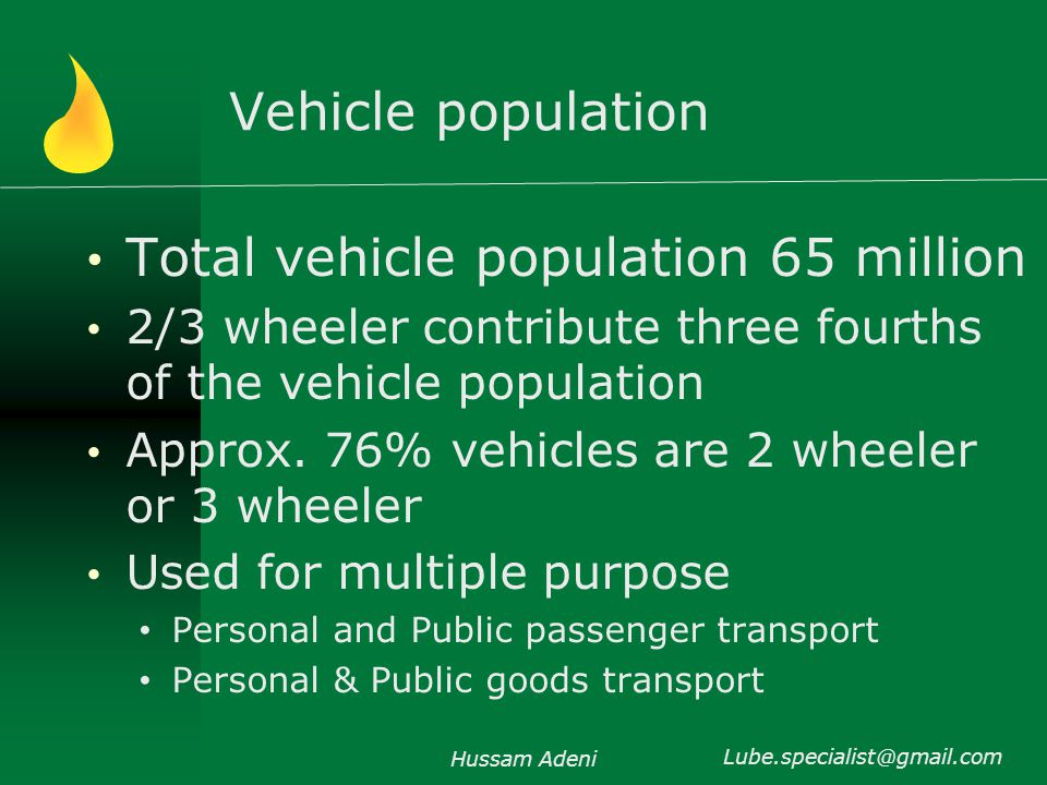 Vehicle population Total vehicle population 65 million 2/3 wheeler contribute three fourths of the vehicle population Approx.