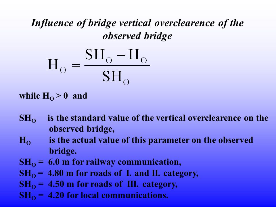Influence of bridge vertical overclearence of the observed bridge while H O > 0 and SH O is the standard value of the vertical overclearence on the ob