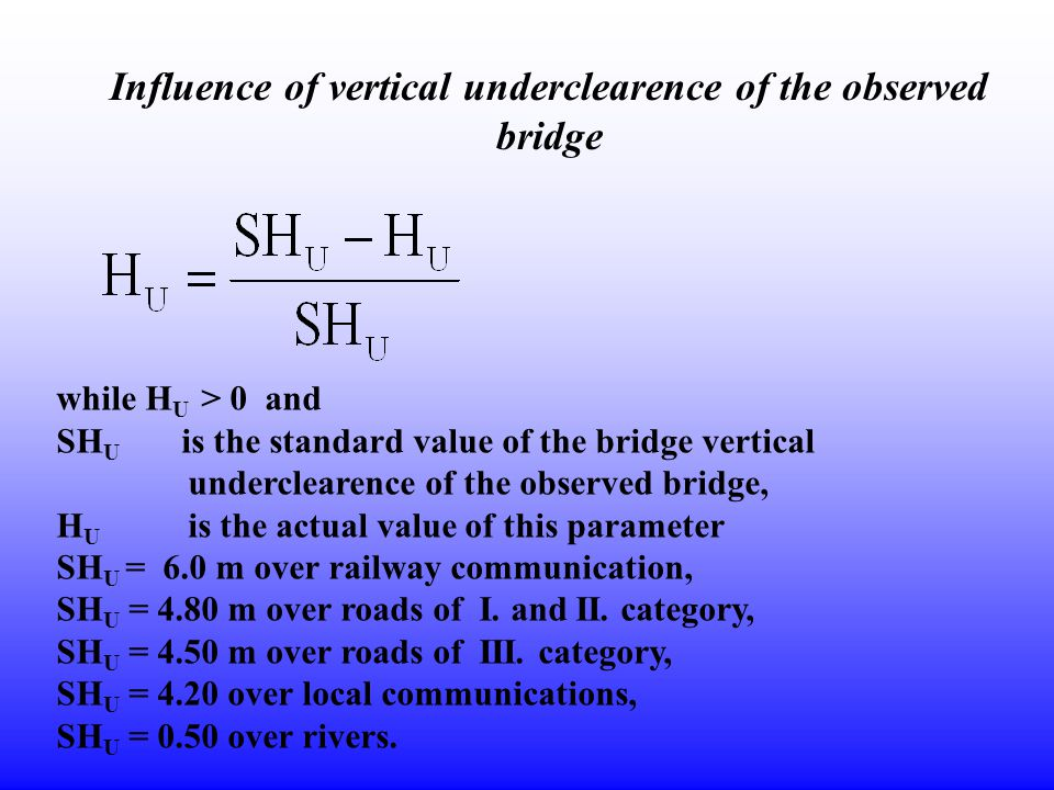 Influence of vertical underclearence of the observed bridge while H U > 0 and SH U is the standard value of the bridge vertical underclearence of the