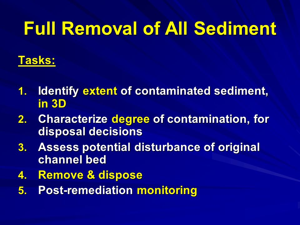 Full Removal of All Sediment Tasks: 1. Identify extent of contaminated sediment, in 3D 2.