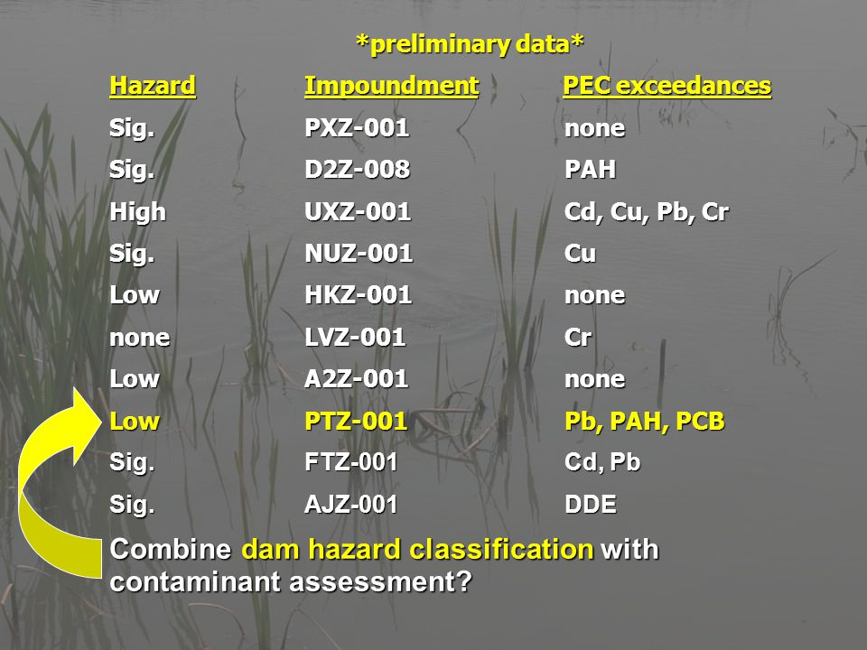 *preliminary data* HazardImpoundment PEC exceedances Sig.PXZ-001none Sig.D2Z-008PAH HighUXZ-001Cd, Cu, Pb, Cr Sig.NUZ-001Cu LowHKZ-001none noneLVZ-001Cr LowA2Z-001none LowPTZ-001Pb, PAH, PCB Sig.FTZ-001Cd, Pb Sig.AJZ-001DDE Combine dam hazard classification with contaminant assessment