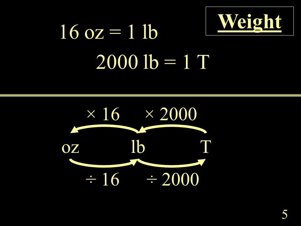 5 16 oz = 1 lb 2000 lb = 1 T ozlbT × 2000× 16 ÷ 16÷ 2000 Weight