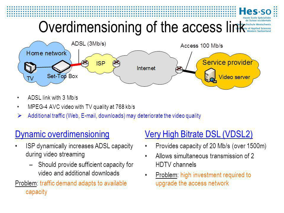 Overdimensioning of the access link ADSL link with 3 Mb/s MPEG-4 AVC video with TV quality at 768 kb/s Additional traffic (Web, E-mail, downloads) may deteriorate the video quality Dynamic overdimensioning ISP dynamically increases ADSL capacity during video streaming –Should provide sufficient capacity for video and additional downloads Problem: traffic demand adapts to available capacity Very High Bitrate DSL (VDSL2) Provides capacity of 20 Mb/s (over 1500m) Allows simultaneous transmission of 2 HDTV channels Problem: high investment required to upgrade the access network