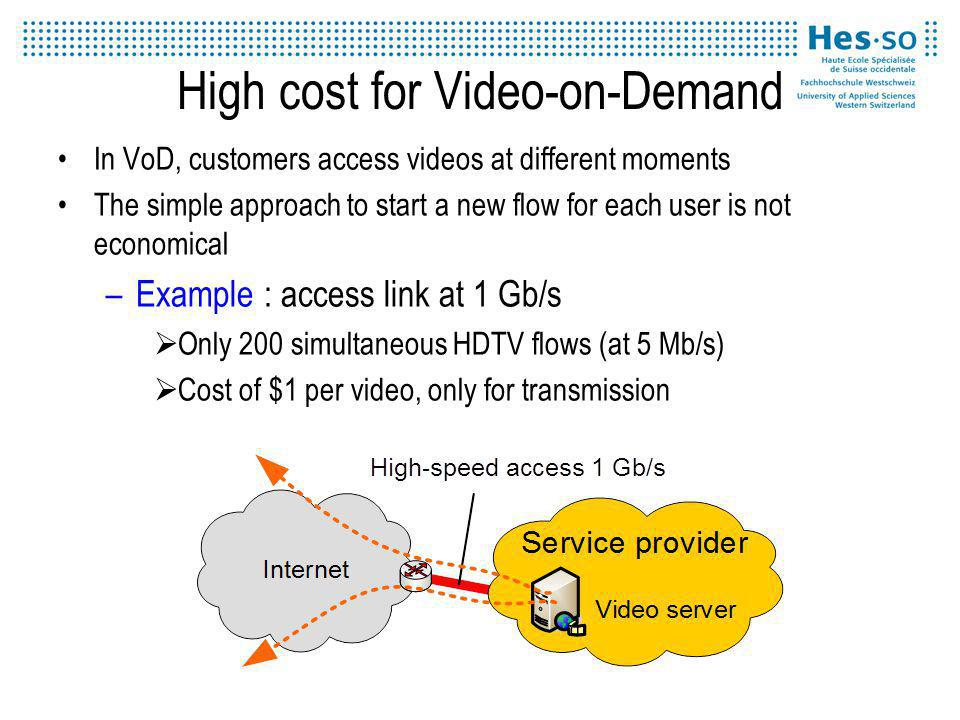 High cost for Video-on-Demand In VoD, customers access videos at different moments The simple approach to start a new flow for each user is not economical –Example : access link at 1 Gb/s Only 200 simultaneous HDTV flows (at 5 Mb/s) Cost of $1 per video, only for transmission