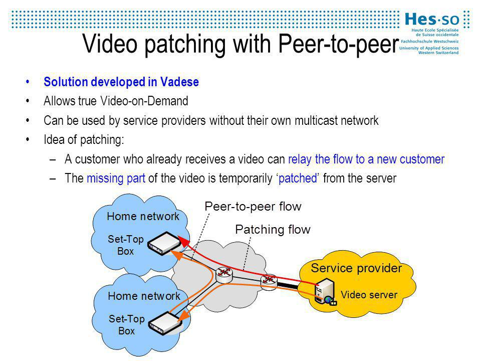 Video patching with Peer-to-peer Solution developed in Vadese Allows true Video-on-Demand Can be used by service providers without their own multicast network Idea of patching: –A customer who already receives a video can relay the flow to a new customer –The missing part of the video is temporarily patched from the server