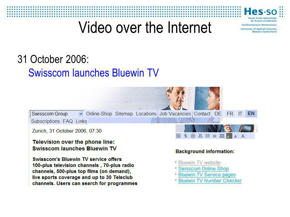 Video over the Internet 31 October 2006: Swisscom launches Bluewin TV