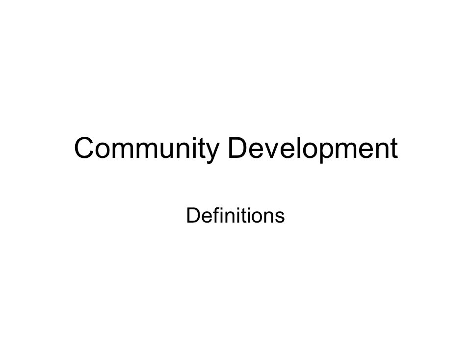 Community Development Definitions