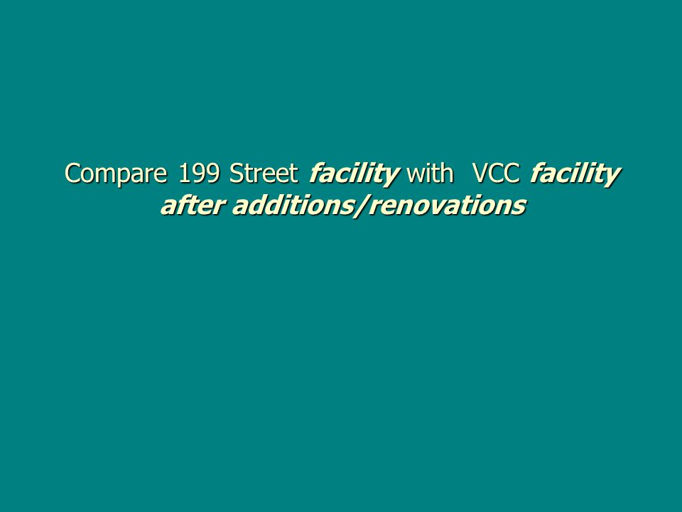Compare 199 Street facility with VCC facility after additions/renovations